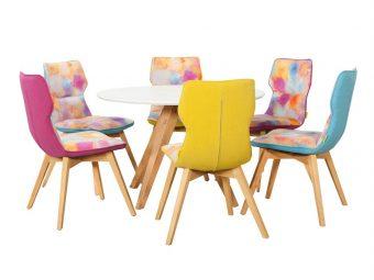 set masa rotunda demi cu 6 scaune