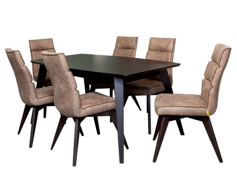Set Masa JASMIN + 6 scaune JASMIN maro