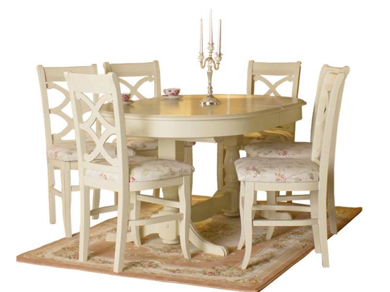 Set masa extensibila ovala cu 6 scaune Roma crem