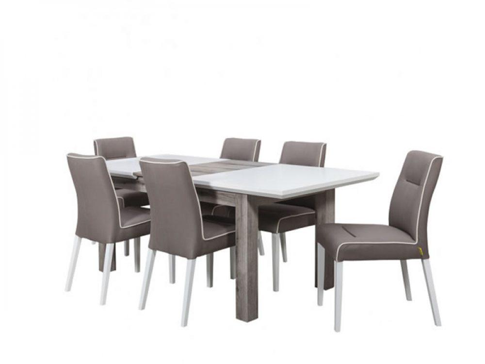 Set masa extensibila Fiona cu 6 scaune alb