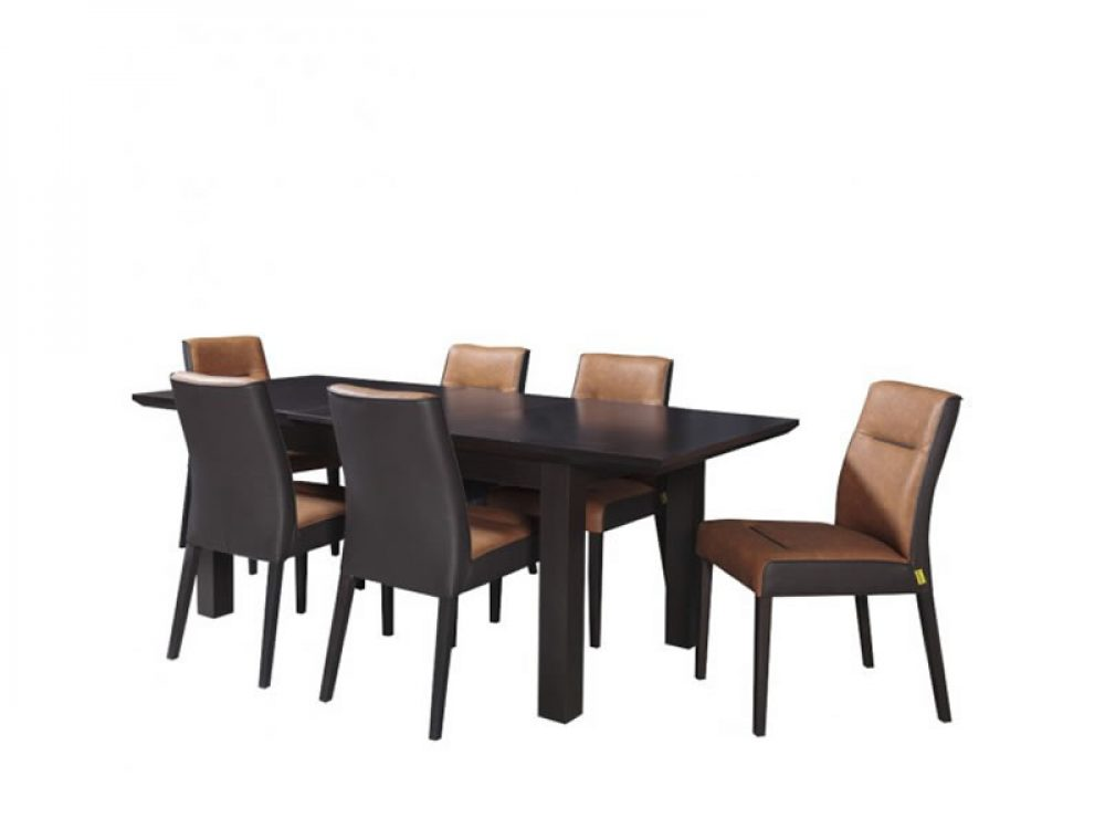 Set masa extensibila Fiona cu 6 scaune brun inchis 160 cm